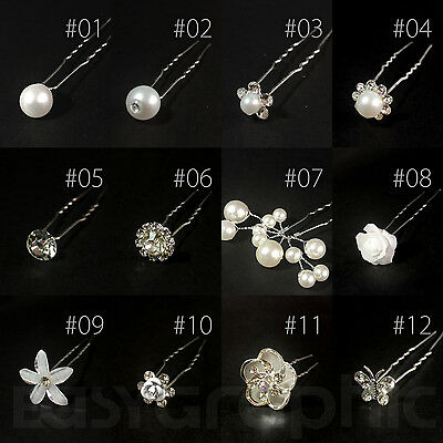 Bridal Hair Pins Rhinestone Pearl Diamante Flower Slide Clips Grips Wedding