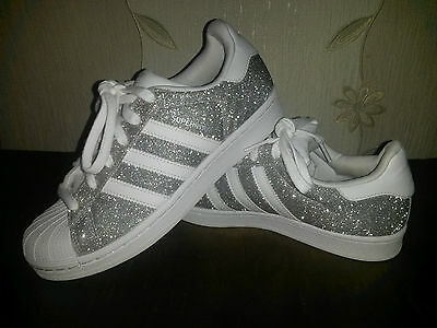 Adidas Superstar Glitter Womens sparkle Trainers in Silver White size 4.5