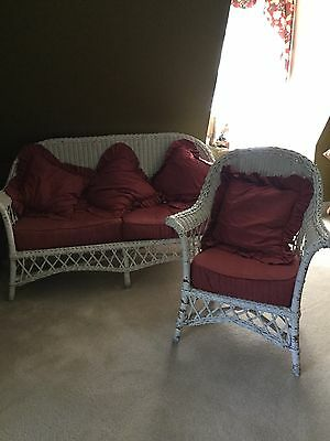 Antique WICKER Loveseat  with Matching chair/WICKER