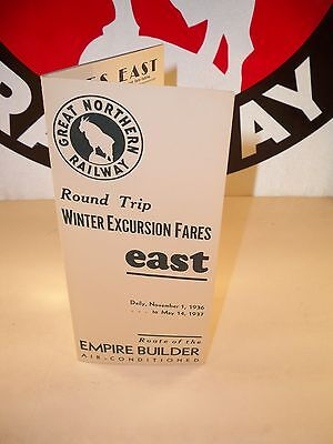 1936 Great Northern Railway Round Trip Winter Excursion Fares East Brochure