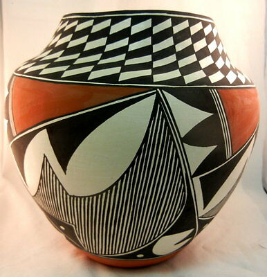 Native American Acoma Traditional Geometric Design Jar by Sharon Stevens