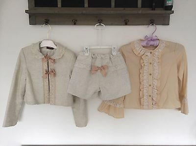 Girls LB 3pc Cream Suit Jacket, Shorts & Shirt  Age 8 Party Occasion Wear