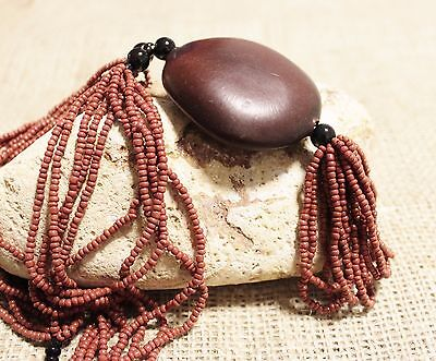 Nice African Natural Seed Pendant Necklace, Unique Jewelry ,Ethnic Necklace