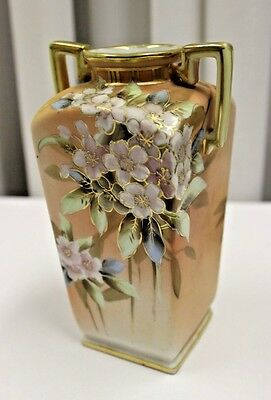 NIPPON  2 HANDLED  GOLD AND FlORAL VASE
