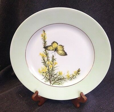 "Haviland Limoges 9 1/2"" Signed 1884 Hand Painted Plate Butterfly & Flowers"
