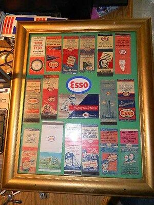 Vintage Esso Gas Match Books Lot Nicely Framed And Displayed 1940's 1950's