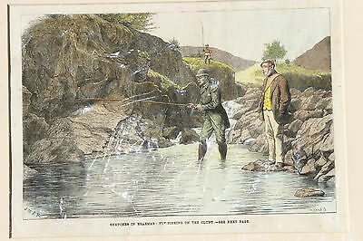 Antique Print - Sketches in Braemar – Fly Fishing on the Cluny