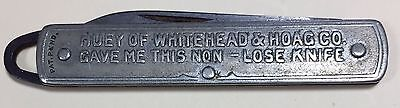 Vintage W & H advertising 1 Bld all metal Keychain type pocket knife Unique @^@
