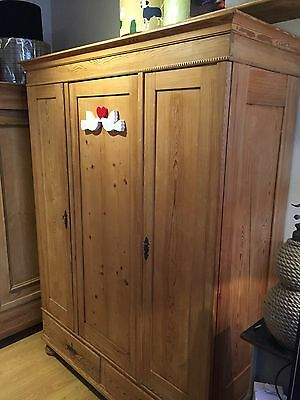 Antique Stripped Pine Knockdown Cupboard With Shelves And Rail