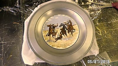 1296M Vtg F. Remington Aiding Comrade Plate in Pewter Wall Hang Art China Co USA