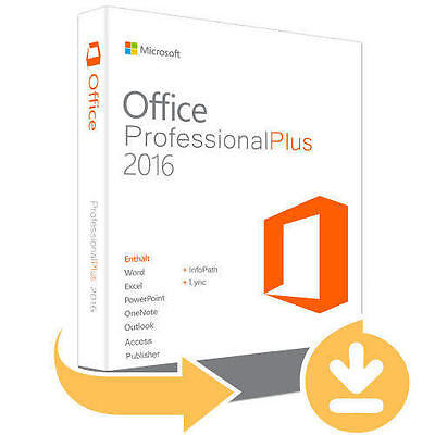 Microsoft Office Professional 2016 Plus Full version/1 PC/E-mail delivery