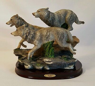 "3 Wolves Running Statue Figurine on a Cherry Wooden Base Large 10"" Long"