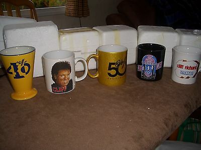 6 x CLIFF RICHARD MUGS FROM TOURS/events CLIFF RICHARD FAN CLUB  etc
