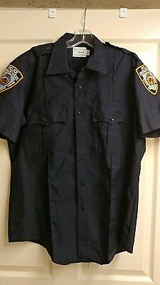 Vintage New York Police Shirt Uniform L, with Offical patches on arms