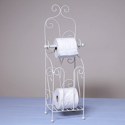 Shabby Chic White Toilet Roll Holder Wc Free Standing Metal Decorative