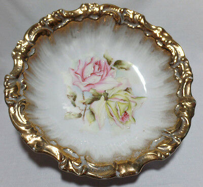 DRESDEN GERMANY Hand Painted Antique Porcelain Roses Gold Rimmed Bowl Gorgeous