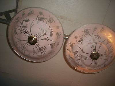 Vintage PAIR Art Deco Ceiling Chandelier Glass Pink Crystal Light Early 1900's