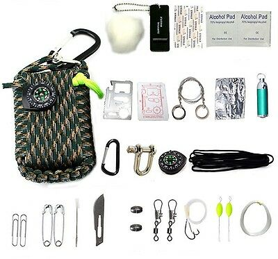 22 In1 Multifunction Outdoor Fishing Survival Kit Parachute Cord First Aid