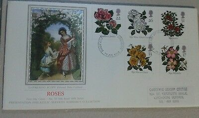 """Roses GB """"silk issue """" FDC.. No 70. Sotheby's collection. British, Cover. Clean."""