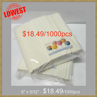 "1000pcs Sucker Lollipop Sticks 6"" x 5/32"" .Candy & Chocolate Cake Pop Making"