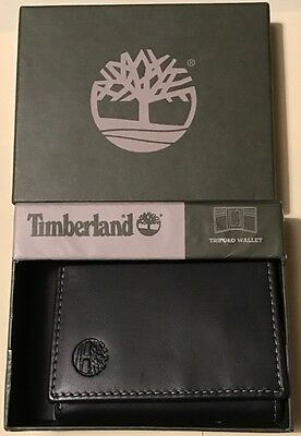 Genuine Timberland Black Leather Trifold Wallet (Smooth) Brand New In Gift Box