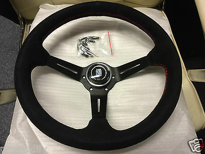 ND Style Black Suede Leather Black Spoke Deep Dish Steering Wheel Rally Drift