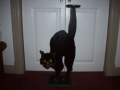 Large Antique Folk Art Wood Cat Holloween Stand