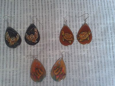 Mother of Pearl Russian Hand Painted  Earings