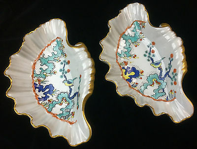 Antique German Porcelain Bowls Scalloped Clam Shell Asian Painted Motif Marked