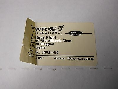 """Box of (185) VWR 5 3/4"""" Disposable Pasteur Pipets, Cotton Plugged, 14672-410"""