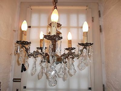 French vintage ornately bronze crystals chandelier 5 light  patina