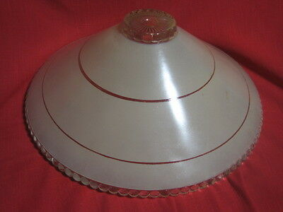 "VTG Heavy Clear Tan Cream Glass Ceiling Light Fixture Lamp Shade 11"" x 4 1/4"""