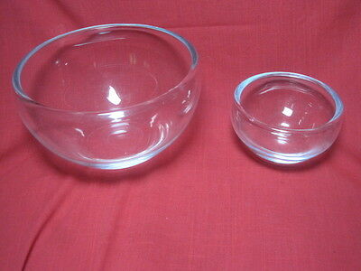 Set of 2 Clear Crystal Heavy Glass UNDERRIMMED Mixing Bowls - FANTASTIC!!!