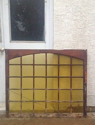 Antique Window Arched Wood Architectural Salvage Shabby Stained Glass 50 X 40 (a