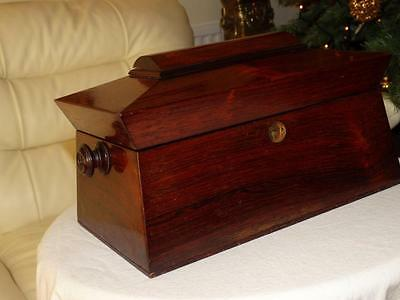 LARGE ANTIQUE GEORGIAN ROSEWOOD TEA CADDY,COLLECTABLE TREEN c1820..