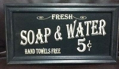 "7 1/2"" X 14"" Wood Plaque Fresh Soap & Water 5 Cents Art Sign New"