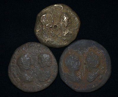 Group of 3 Ancient Roman Bronze coins with DOUBLE PORTRAITS, c 2-4 century AD.