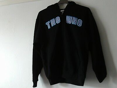 The Who New Zipped Cotton Hooded Sweat Top Medium Chest 38 Inches Black Hoody