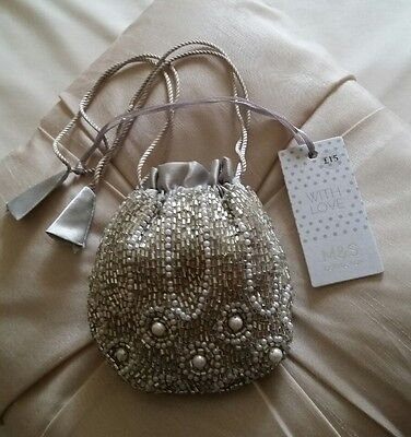 M&S Collection Beaded pouch Jewellery/gift bag/ bridesmaid BNWT