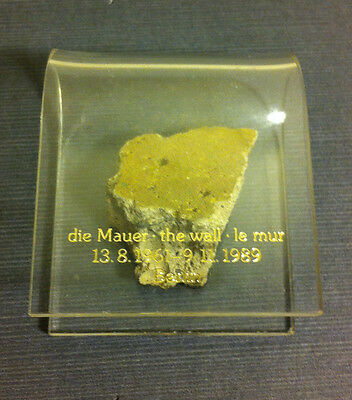 Genuine piece of the Berlin Wall in display case - History Cold War Revolution