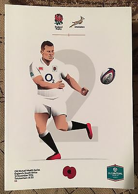 England v Springboks South Africa 12th November 2016 Rugby Programme Rugby New