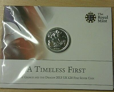 2013 Silver £20 Coin George And The Dragon First Twenty Pounds Coin.