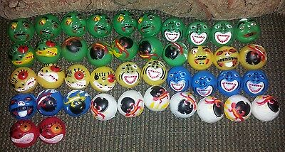 "Lot Of 42 1.5"" Knock Off Madballs Vending Machine Crazy Ugly Faces Vintage"