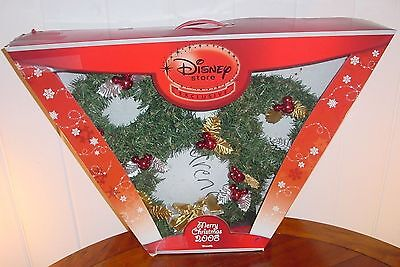 Disney Store Exclusive MICKEY  MOUSE  Christmas  LIGHTED  Wreath  With Box