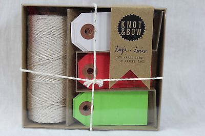 Knot & Bow Tags + Twine 100 Yards Twine 30 Parcel Tags New W Tags $20