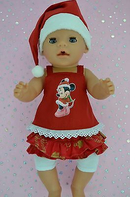 """Play n Wear Doll Clothes To Fit 17"""" Baby Born XMAS SKIRT/BUILT-IN TIGHTS~TOP~HAT"""