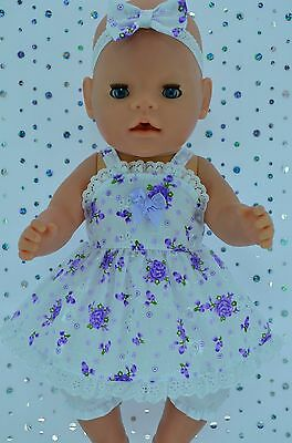 """Play n Wear Doll Clothes For 17"""" Baby Born PURPLE FLORAL DRESS~BLOOMERS~HEADBAND"""