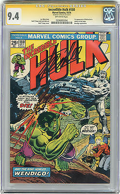 1974 Incredible Hulk 180 CGC 9.4 Signed by Stan Lee Wolverine Cameo