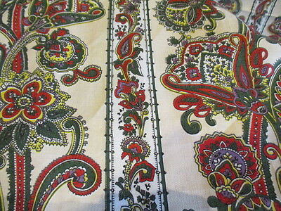 """Vintage French Fabric.Upholstery Curtains Projects. Paisley Indienne 100"""" x 86"""""""