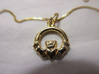 vintage??   375 (9ct) gold necklace/chain with claddagh pendant